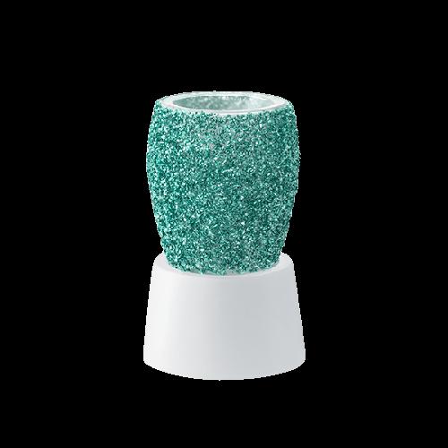 Glitter teal Scentsy mini warmer met tafelstandaard
